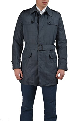 Dolce & Gabbana Men's Gray Checkered Belted Trench Coat US 2XS IT (Dolce & Gabbana Trench Coat)