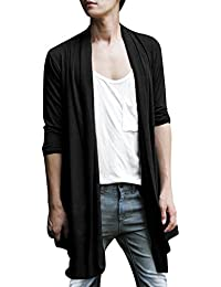 Allegra K Men Shawl Collar High-Low Hem Long Cardigan
