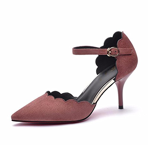 Sandals Work High 7Cm Fine Ladies Tip Waterproof KHSKX Leisure Shoes Single Girl Heels The 36 And Ol Female Pink New aq1PA