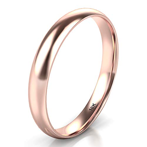 Sz 7.5 Solid 10K Rose Gold 3MM Plain Dome Wedding Band Ring ()