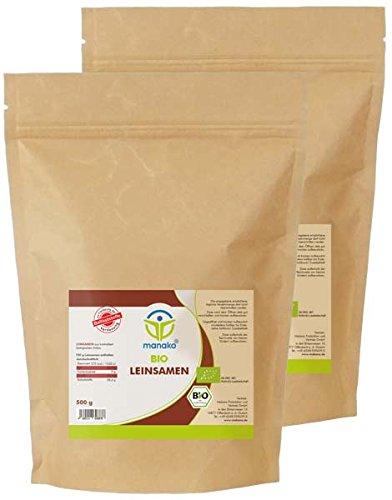 manako ® Bio Leinsamen ganz, 2er Pack (2 x 500g)