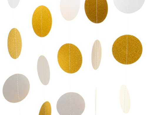 Modern by Design,10 Pack, 6.5 ft (2m) Circle Paper Garland, Larger 3 inch (8cm) Diameter, 65 ft Total, Hanging Decor for Weddings, Baby Showers, Birthdays, Christmas (White & Gold Glitter)