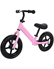 """12"""" Sport Balance Bike for Toddlers and Kids,No-Pedal Kid's Balance Bike for Ages 18 Months to 5 Years Bicycle Skills Training with Adjustable and Seat Bike Pink Color"""