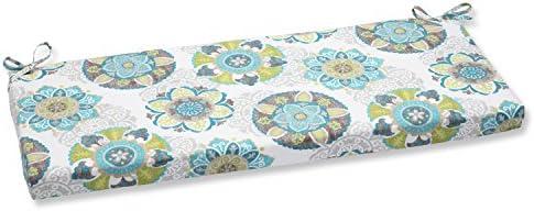 Pillow Perfect Outdoor Indoor Allodala Oasis Bench Swing Cushion, 45 x 18 , Blue