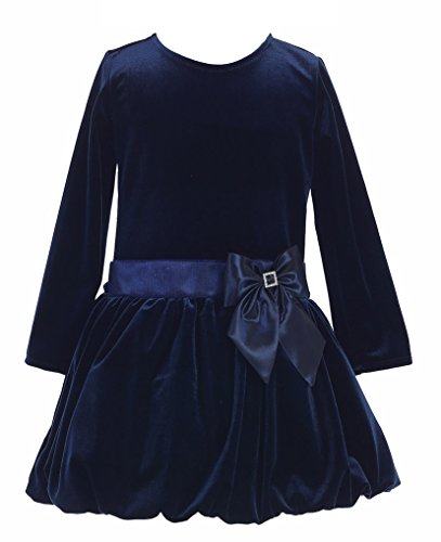 Big Girls Stretch Velvet Bubble Holiday Fall Christmas Dress 7 Navy