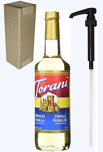 Torani French Vanilla Flavoring Syrup, 750mL (25.4 Fl Oz) Glass Bottle, Individually Boxed, With Black Pump