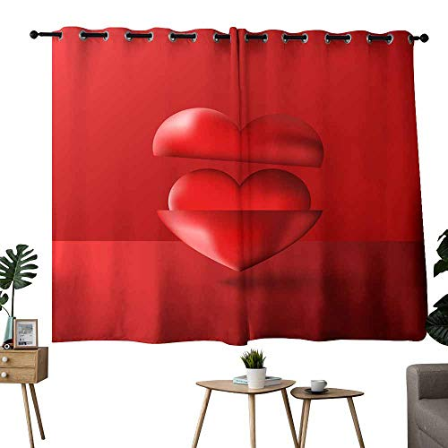 Heat insulation curtain Two shiny D hearts red purple volume compositions Happy Valentines Day greeting card love poster banner or romantic party realistic material pop art design element for Living, (Shiny Silver Heart Magnet)