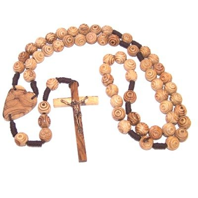 Olive Wood Wall Rosary (100 cm or 39'') by Holy Land Market (Image #1)