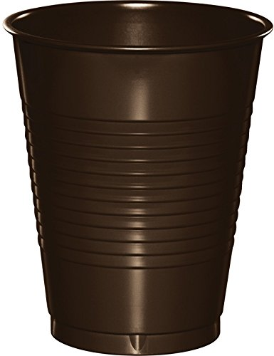 Creative Converting 28303881 20 Count Touch of Color Plastic Cups, 16 oz, Chocolate -