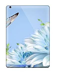 Case Cover Blue Butterfly On Chrysanthemums/ Fashionable Case For Ipad Air