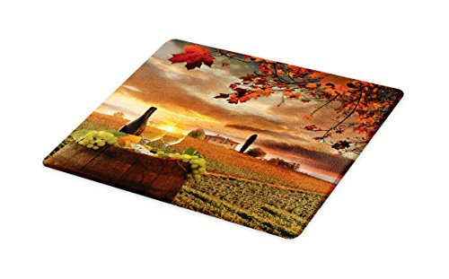 Lunarable Winery Cutting Board, White Wine with Barrel on Vineyard at Sunset in Chianti Tuscany Italy, Decorative Tempered Glass Cutting and Serving Board, Large Size, Apple Green Orange Brown