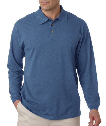 UltraClub Adult Long-Sleeve Classic Pique Polo, Large, Storm Blue