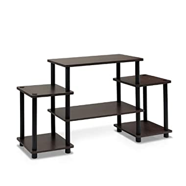 Furinno 11257DBR/BK Turn-N-Tube No Tools Entertainment TV Stands, Dark Brown/Black