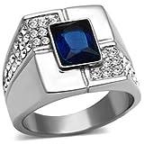Bezel Setting Emerald Cut Blue Stone Stainless Steel Men's Ring
