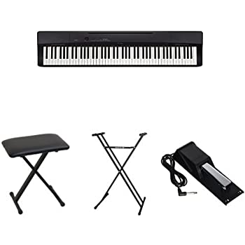 casio privia px160bk 88 key full size digital piano bundle with casio bench stand. Black Bedroom Furniture Sets. Home Design Ideas