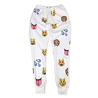 Women Clothing Emoji jogging pants 3D Sweatpants Joggers White (S)
