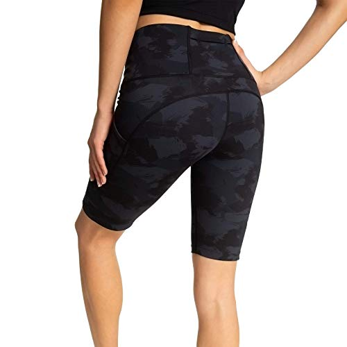 Running Shorts for Women High Waist Pants Yoga Leggings Biker Workout Shorts with 3 Pockets Regular Plus Size (Black Ash Geometry M)