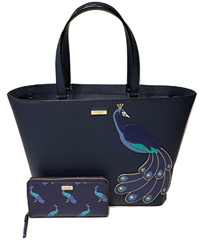 Kate Spade New York Peacock Jules Full Plume Tote WKRU5248 bundled with Matching Liberty Street Peacock Neda Wallet by Kate Spade New York