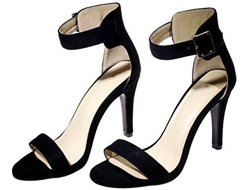 Peep Toe Stiletto Sandalias Mujer Correa de tobillo Handmade Vestir Sandalias de BIGTREE Negro