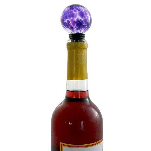 Vidrio soplado botella de vino tapón con medidas de silicona junta, morado Color: Amazon.es: Hogar