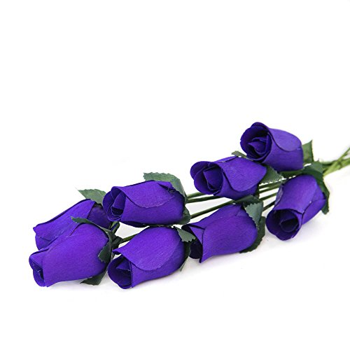Purple Roses Bunch of 8 Closed Bud Wooden