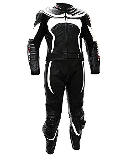 Tschul® Lederkombi Motorradbekleidung Biker Anzug Zweiteiler Motorradkombi Schwarz/Weiß, Size: 52