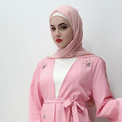 Sayhi Muslim Fashion Women's Beaded Cardigan Robes Arabian Traditional Loose Dress Slamic Dresses(Pink,XL) by Sayhi (Image #4)