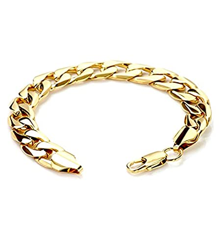 Gold Cuban Link Bracelet 11MM Round Solid Fashion Jewelry 24K Gold Filled Miami Cuban link Diamond Cut (24k Gold Necklace Solid)