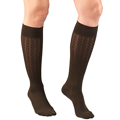 Truform Compression Socks for Women, 15-20 mmHg, Brown Cable Pattern, Large -  Surgical Appliance Industries, 1975BN-L