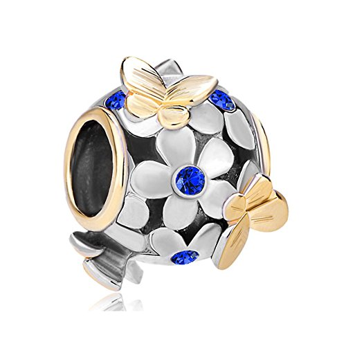 Pugster Colorful Birthstone Crystal Flower Butterfly Charm Beads Fit Pandora Bracelet (Sapphire Blue)