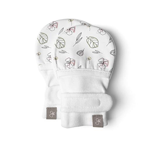 Goumimitts, Scratch Free Baby Mittens, Organic Soft Stay On Unisex Mittens, Stops Scratches and Prevents Germs (0-3 Months, Abstract Floral)