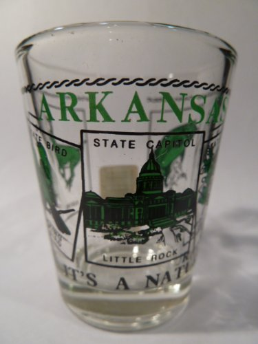Arkansas Shot Glass - Arkansas Scenery Green Shot Glass
