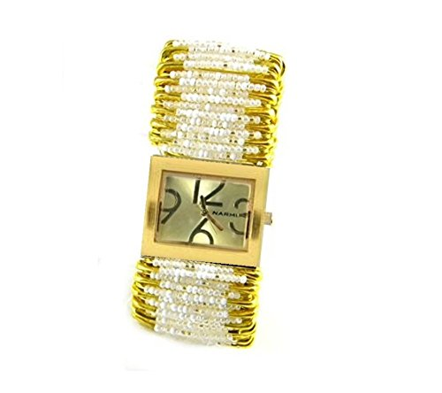 Safety Pin Beaded Watch - PlanetZia Elegant Stretch Safety Pin Watch with Shades of White Beads on Gold Pins HM-WGSPW