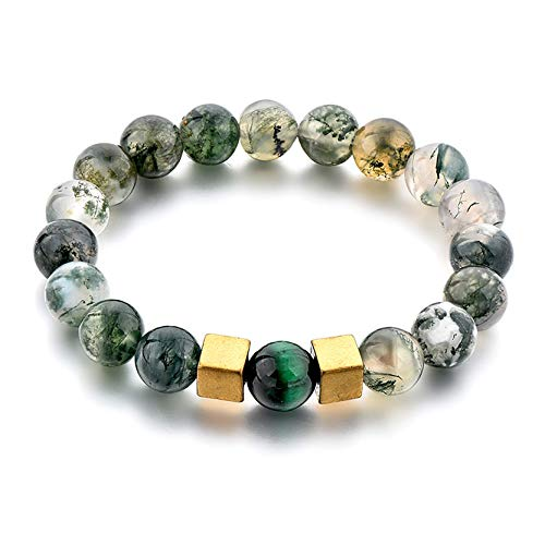 Ino 8mm Natural Stone Mens Womens Bead Bracelets - Amethyst, Mai Fan, Moss Agate, Rose Quartz, Smooth Howlite Stones. Various Sizes to fit All. (19.0, Moss Agate) by Ino