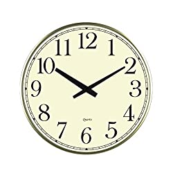 LuLu Decor, 18 Slim Wall Clock, round modern sleek design only 0.75 inches thick, Silent Movement (Slim) (Gold)