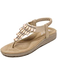 Women's Summer Thong Flat Sandals T-Strap Bohemian Rhinestone Slip On Flip Flops Shoes