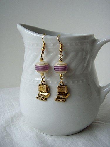 Geek Chic Computer Earrings with Purple Stripe Resin Beads Purple Resin Stripes