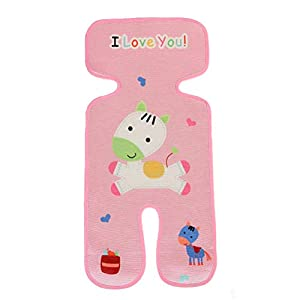Pink KEISL Baby Stroller Cooling Mat,Infant Baby Summer Linen Ice Silk Sleeping Mat for Strollers and Carriers,Car Seat Mat 73x33cm