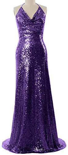 Bridesmaid Formal Halter Violett Long Neck Cowl MACloth Women Wedding Gown Party Dress qw1pznInx5