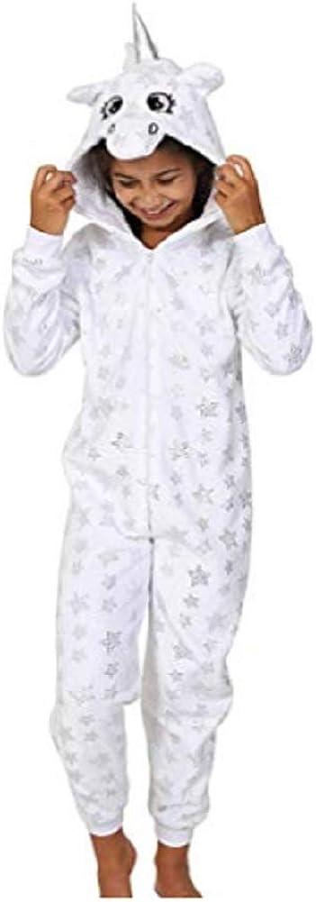 Girls Kids Hooded Unicorn Dressing Gown Robe Onesie Fancy Dress Sleepwear Cosy Christmas Present Idea