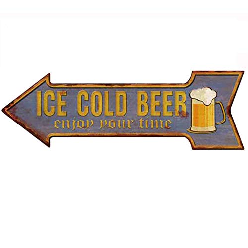 HANTAJANSS Bar Signs Retro Ice Cold Beer Signs for Pub Decoration - Cold Beer Sign