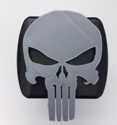 LicensePlateFreak Punisher Skull in 3D - 2 inch Trailer Hitch Cover Black with Grey - Super Hero (Hitch Cover Tube Logo)