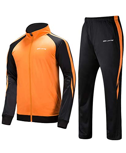 Men's Outdoor 2 Piece Jacket Pants Track Suit Sport Sweat Suit Set Orange/Black Small ()