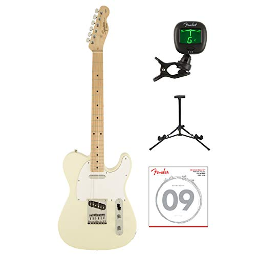 Fender Squier Affinity Series Telecaster Electric Guitar with Tuner, Strings & Stand (Arctic White) ()
