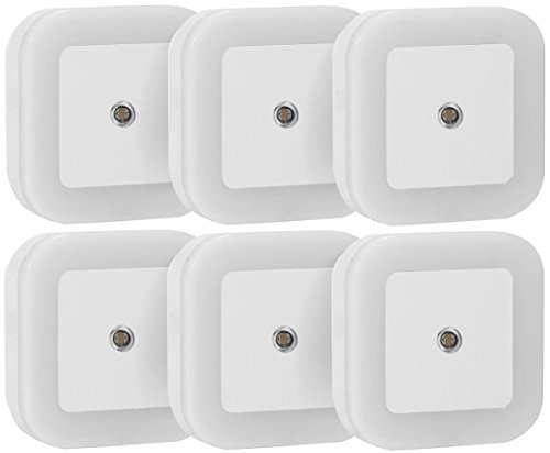 Sycees TL-LSNL-6P 0.5W Plug-in LED Night Light Lamp with Dusk to Dawn Sensor, Daylight White, 6-Pack