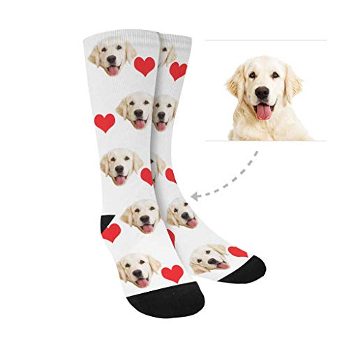Custom Personalized Photo Pet Face Printed, Valentine's Day Red Hearts Crew Socks Unisex