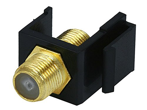 Monoprice 106544 Keystone Jack Modular F Type, Black (Connector Monoprice F)