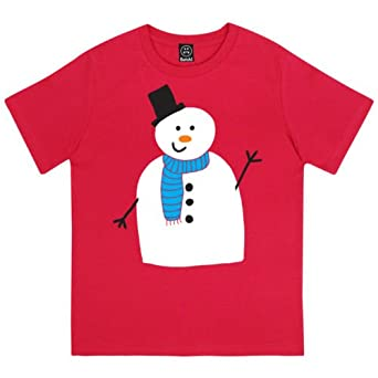 Classic Snowman Boys Christmas T-Shirt - Red - 12-14 Years: Amazon ...