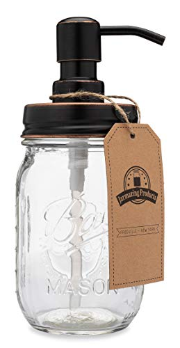 Jarmazing Products Classic Farmhouse Mason Jar Soap Dispenser - Oil-Rubbed Bronze - with 16 Ounce Ball Mason Jar