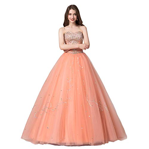 Leyidress Quinceanera Dress Ball Prom Gown Sweet 16 Dress Formal Dress for Grils US12 Orange -
